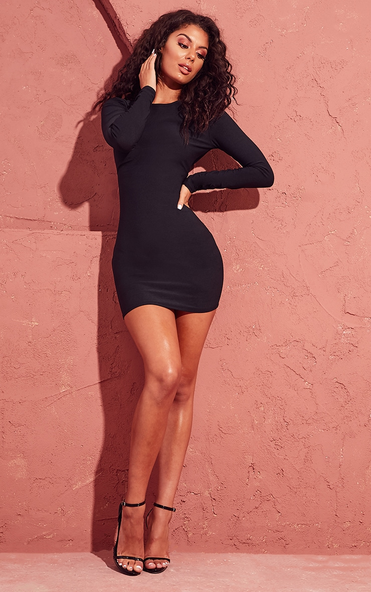 Black Long Sleeve Bodycon Dress Prettylittlething