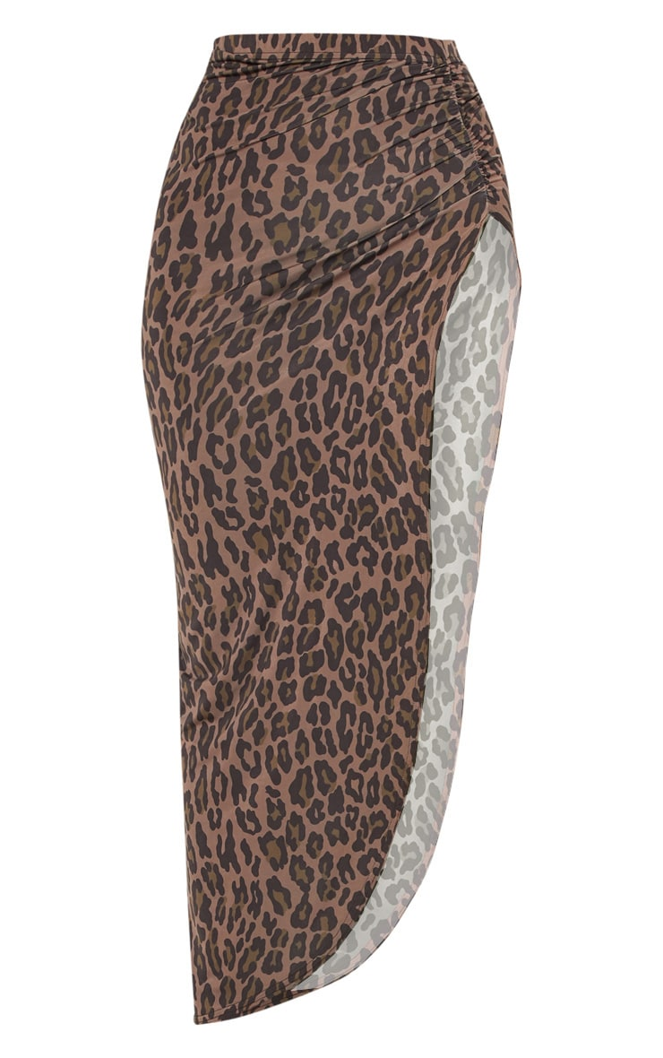 Brown Leopard Print Ruched Side Split Maxi Skirt 3