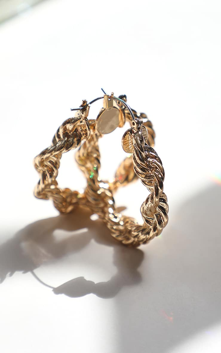 Gold Creole Chunky Hoop Earrings 3