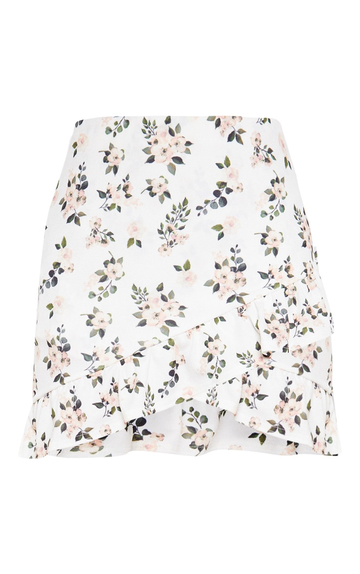 White Floral Printed Frill Detail Wrap Mini Skirt 3