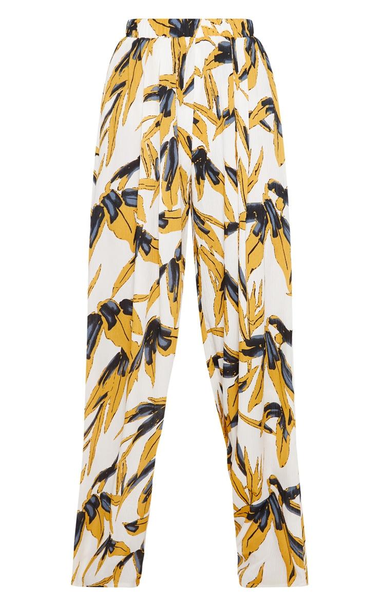 White Palm Print Wide Leg Trousers 3