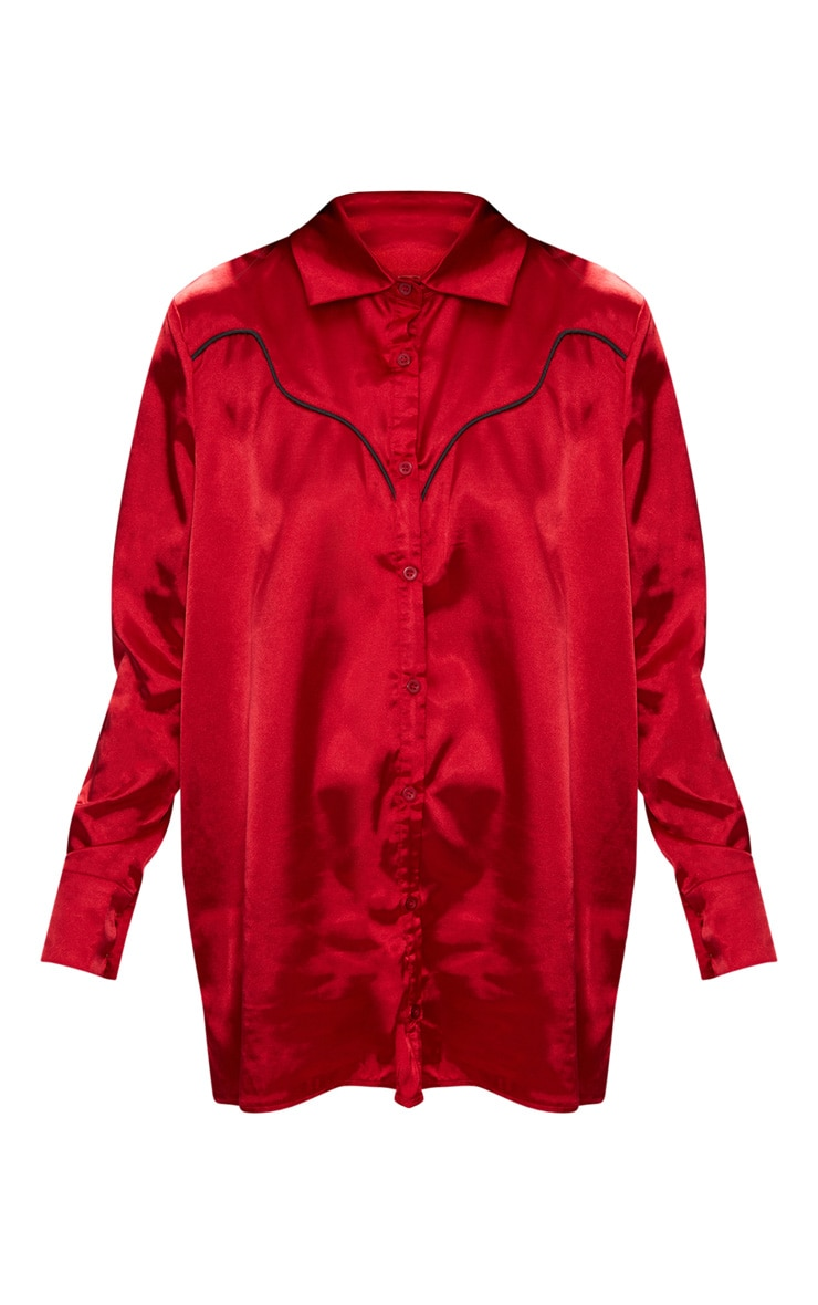Red Satin Western Shirt 3