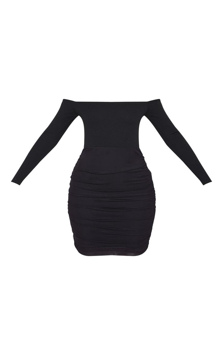 Black Bardot Long Sleeve Ruched Bodycon Dress 3