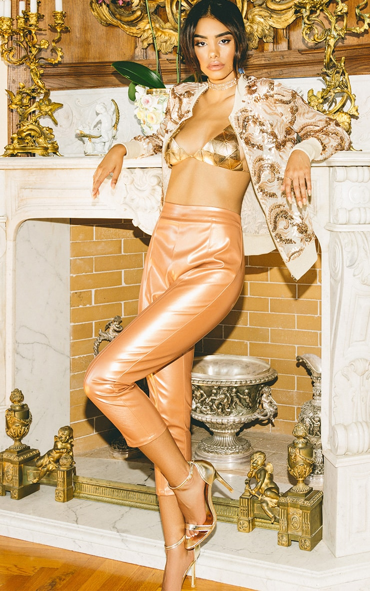 Daysha Bronze Cropped Leather Trousers 1