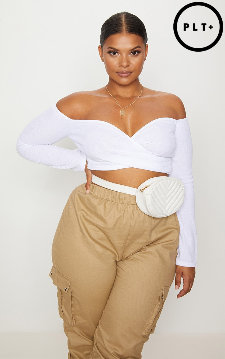 Plus White Ribbed Bardot Crop Top 1