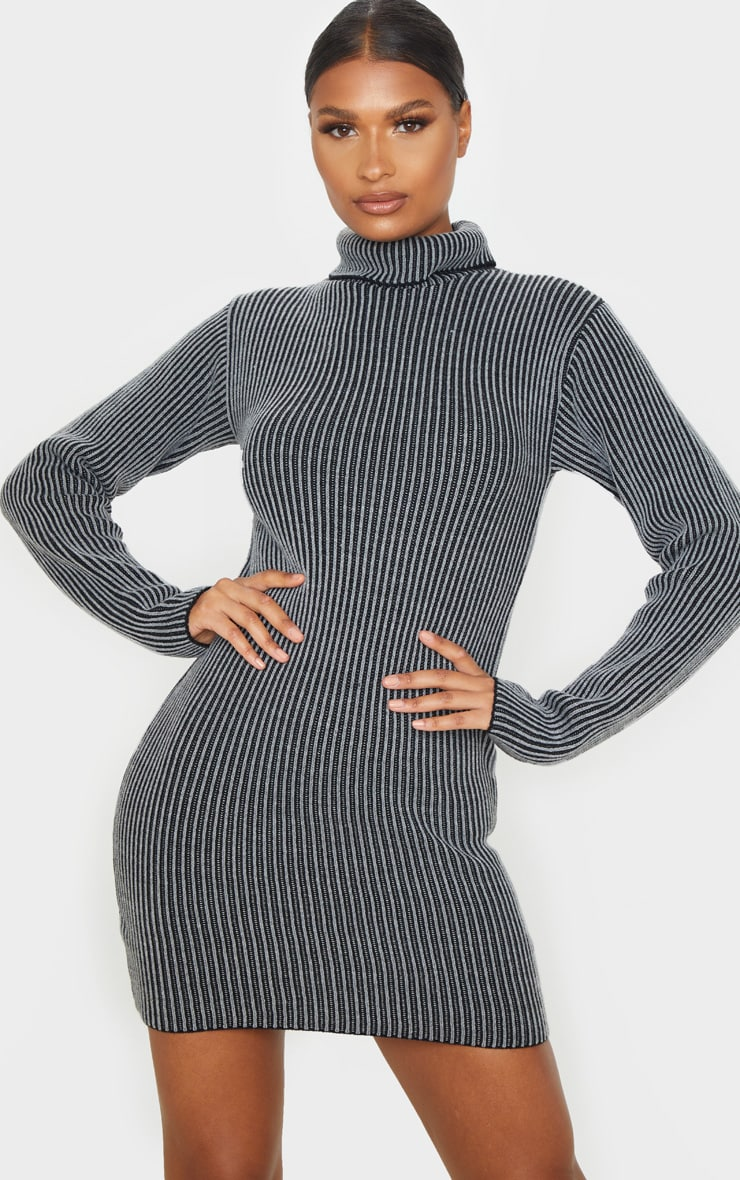 Grey Two Tone Knitted Dress 1