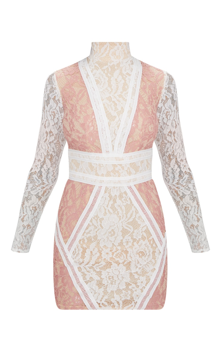 White High Neck Long Sleeve Contrast Lace Bodycon Dress 3