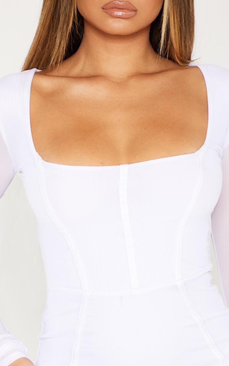 White Mesh Binding Detail Long Sleeve Midi Dress 5