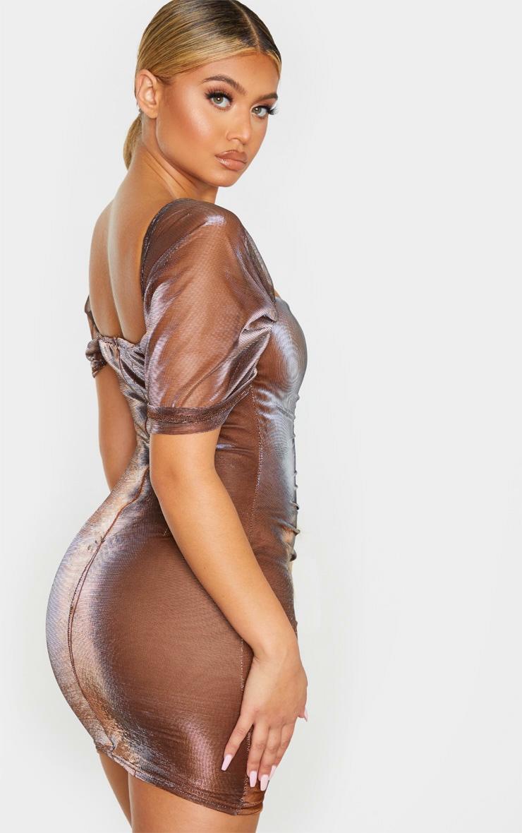 Bronze Iridescent Metallic Ruched Bodycon Dress 2