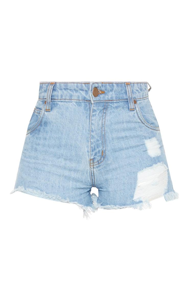 Tall  Light Wash High Waisted Distressed Frayed Hem Denim Shorts 3