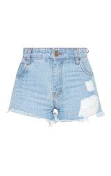 3560c450b3 Tall Light Wash High Waisted Frayed Hem Denim Shorts | PrettyLittleThing