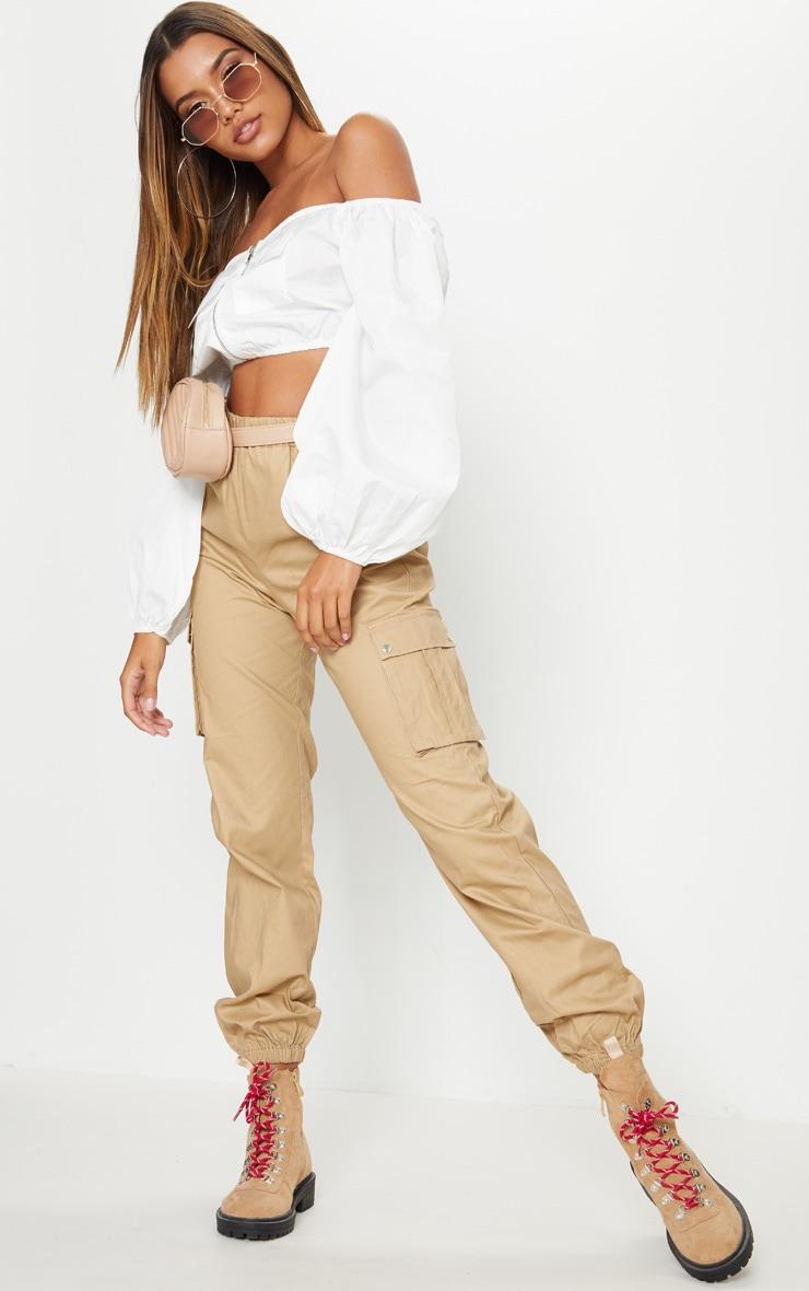 Pantalon cargo gris pierre avec poches 1