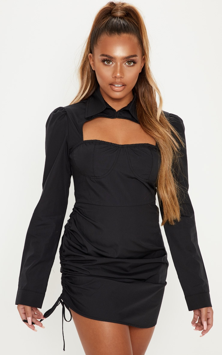 Black Cup Detail Cut Out Ruched Shirt Dress