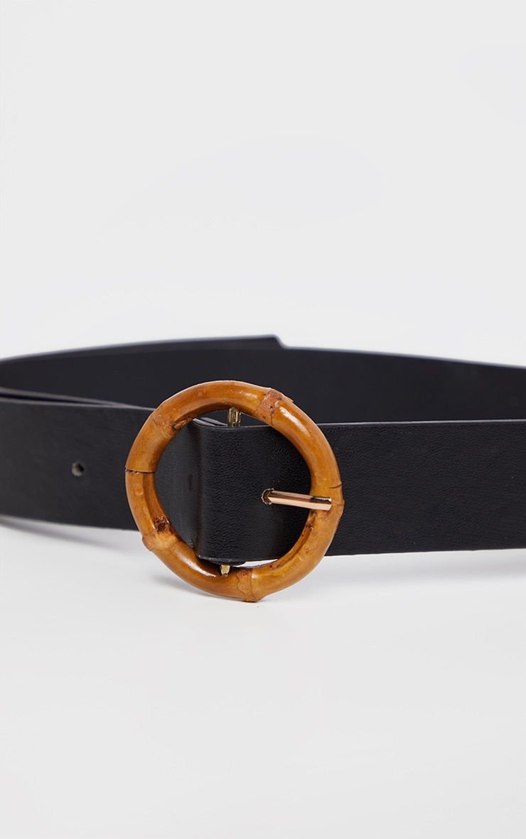 Black PU Thin Wooden Circle Buckle Belt 3