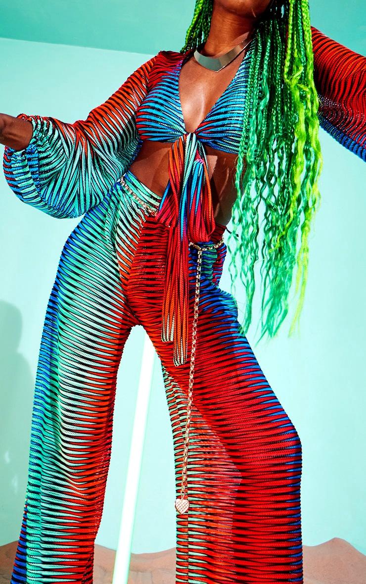 Pantalon de plage évasé multicolore à découpes laser et rayures 4