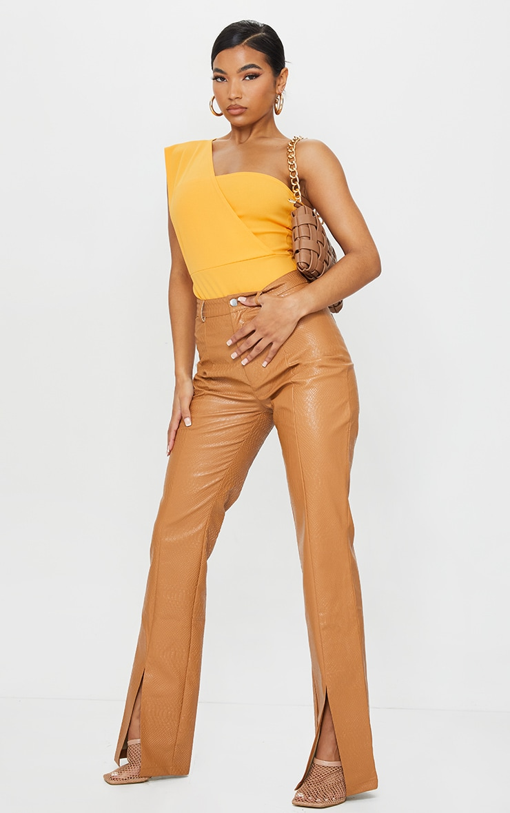 Tangerine One Shoulder Bodysuit 3