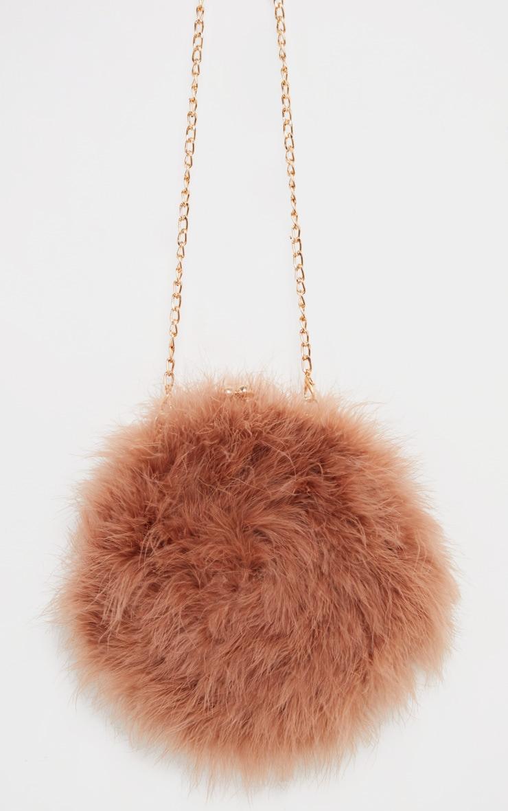 Chestnut Marabou Feather Cross Body Bag 2