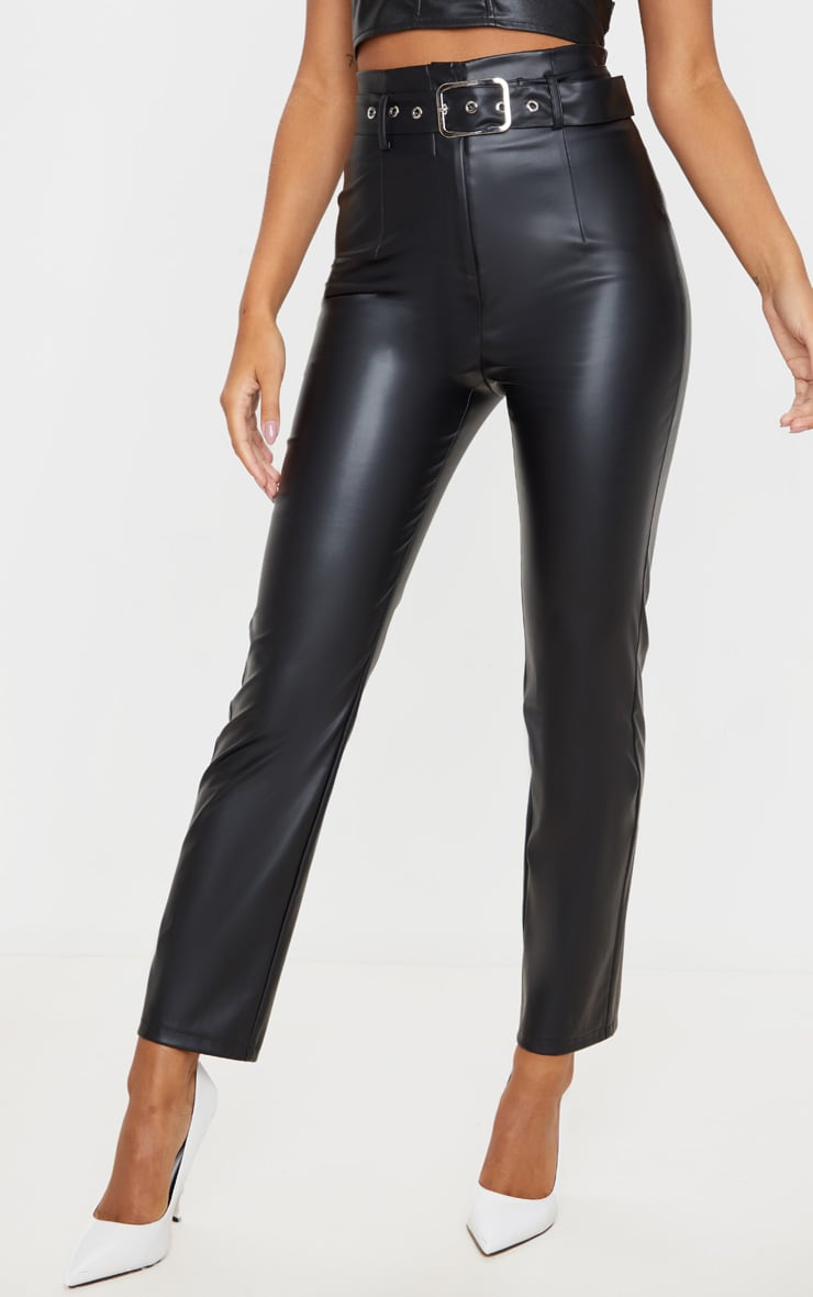 Black Belted Straight Leg Faux Leather Pants 2