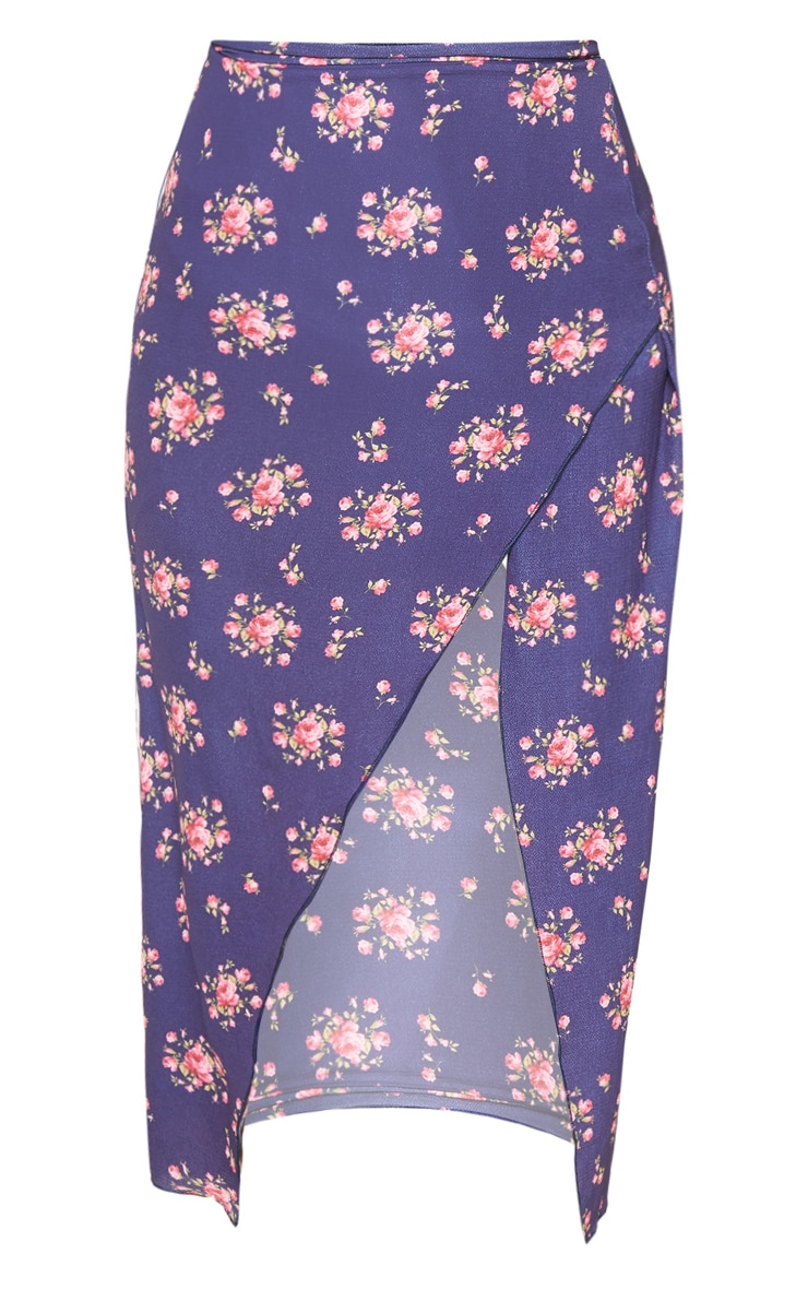 Tall Navy Ditsy Floral Wrap Pencil Skirt 3