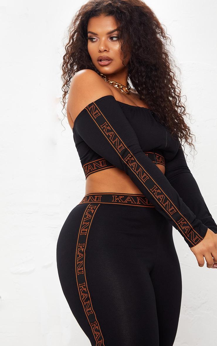 KARL KANI Black Tape Bardot Crop Top 2