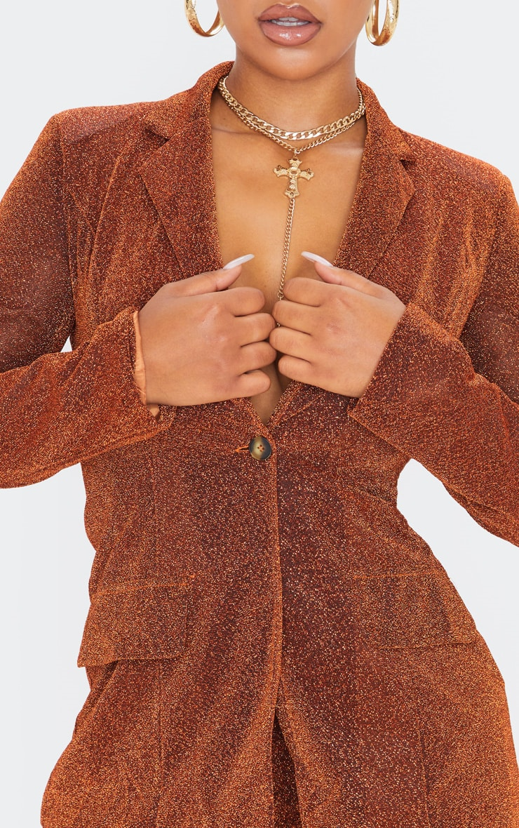 Rust Glitter Structured Suit Woven Blazer 5
