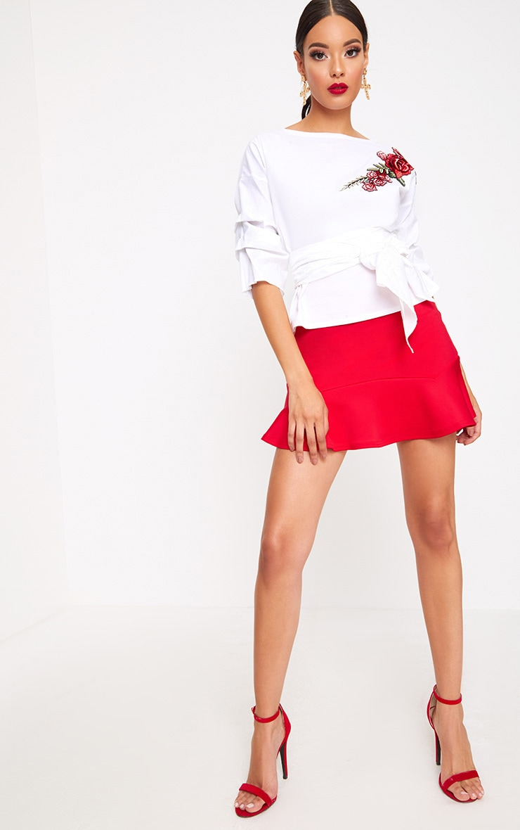 White Applique Ruched Frill Sleeve Shirt 4