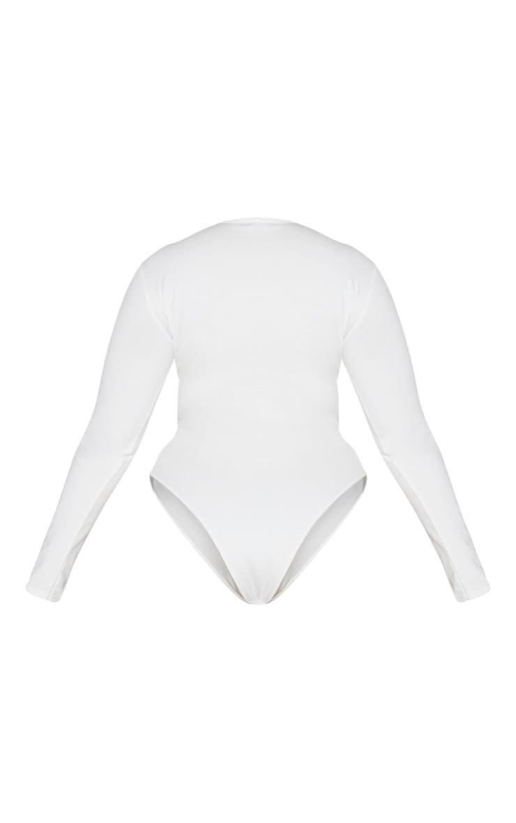 Plus Cream Cotton Bust Detail Bodysuit 6