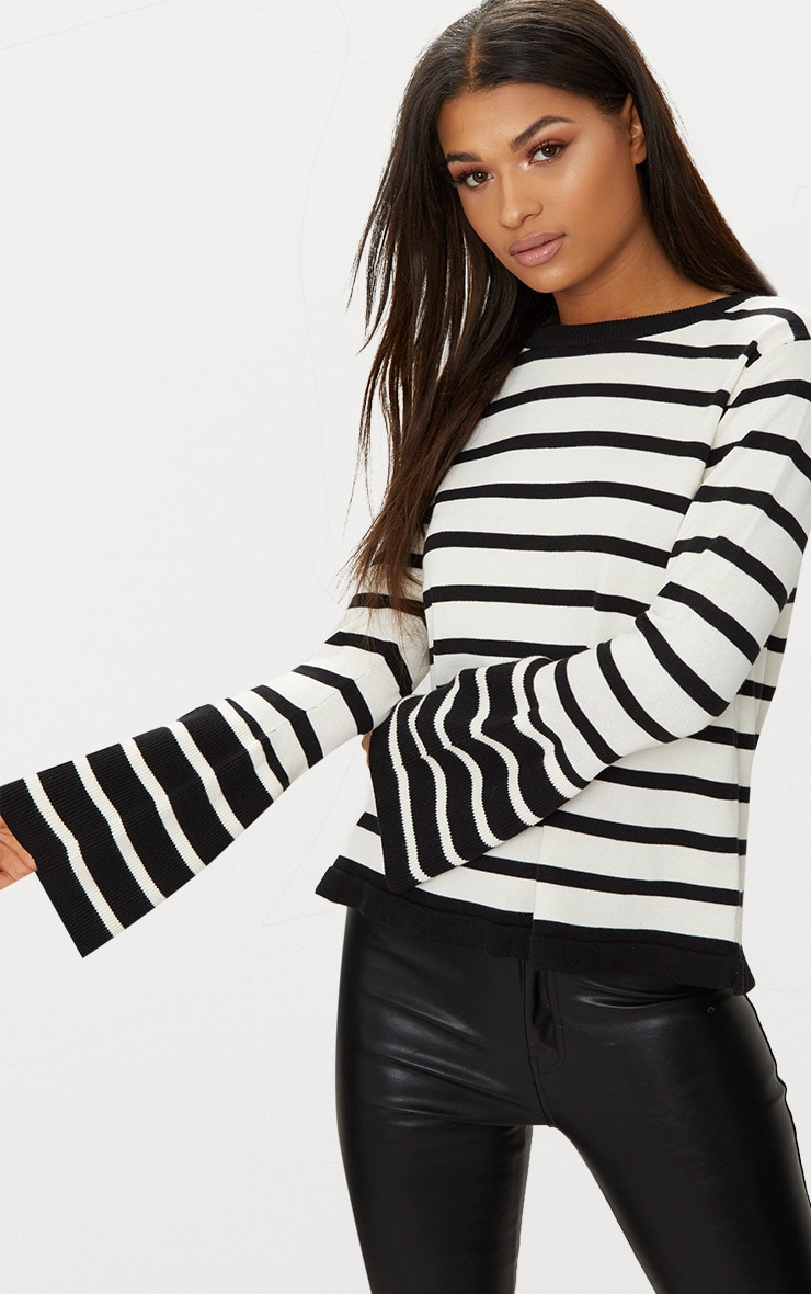 White Flare Sleeve Stripe Jumper 1