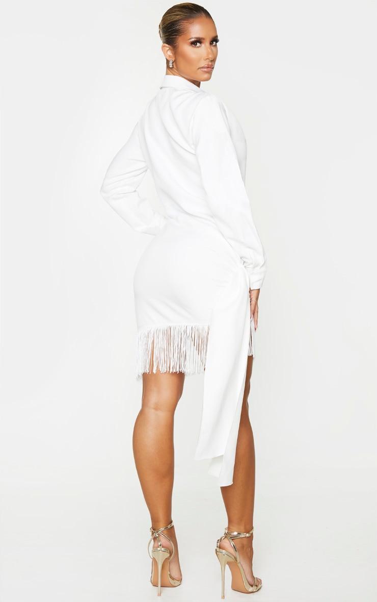 White Long Sleeve Tassel Hem Drape Detail Bodycon Dress 2