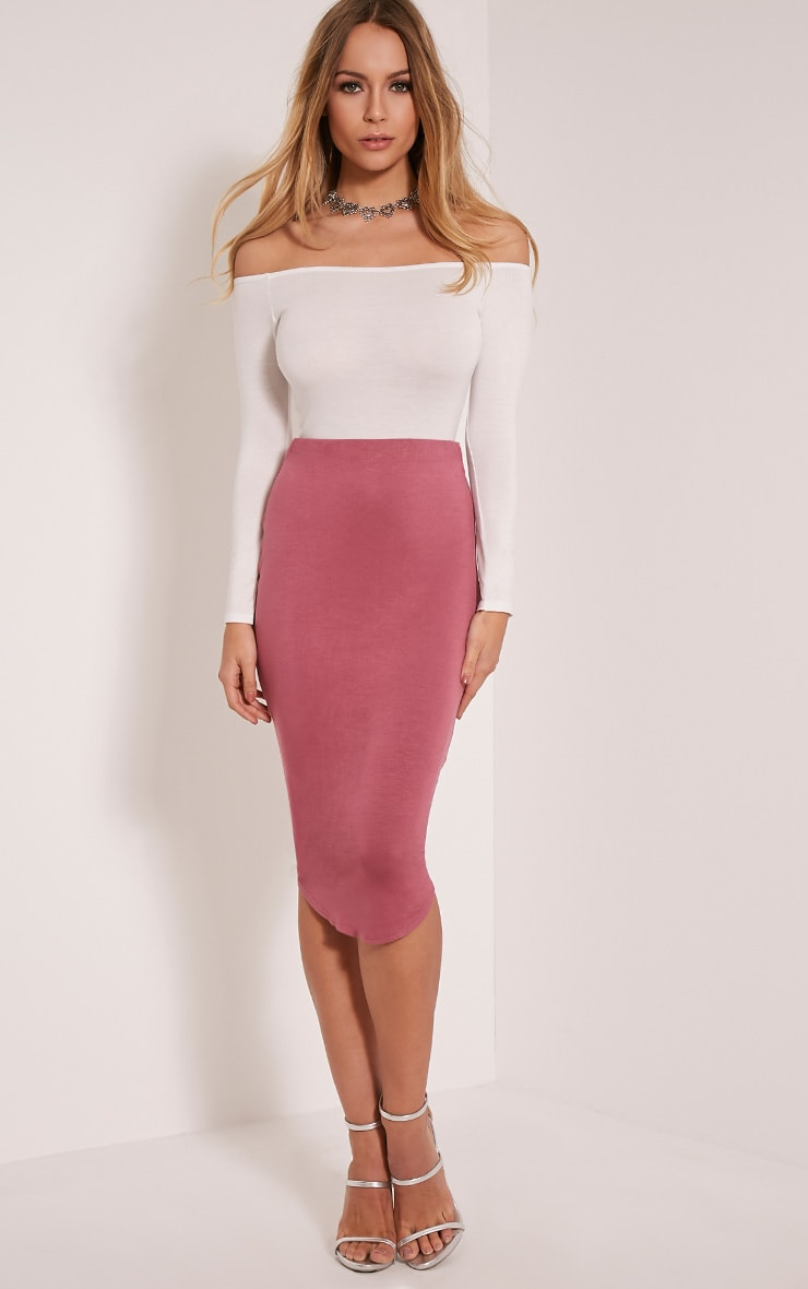 Ariana Rose Curved Hem Midi Skirt 1