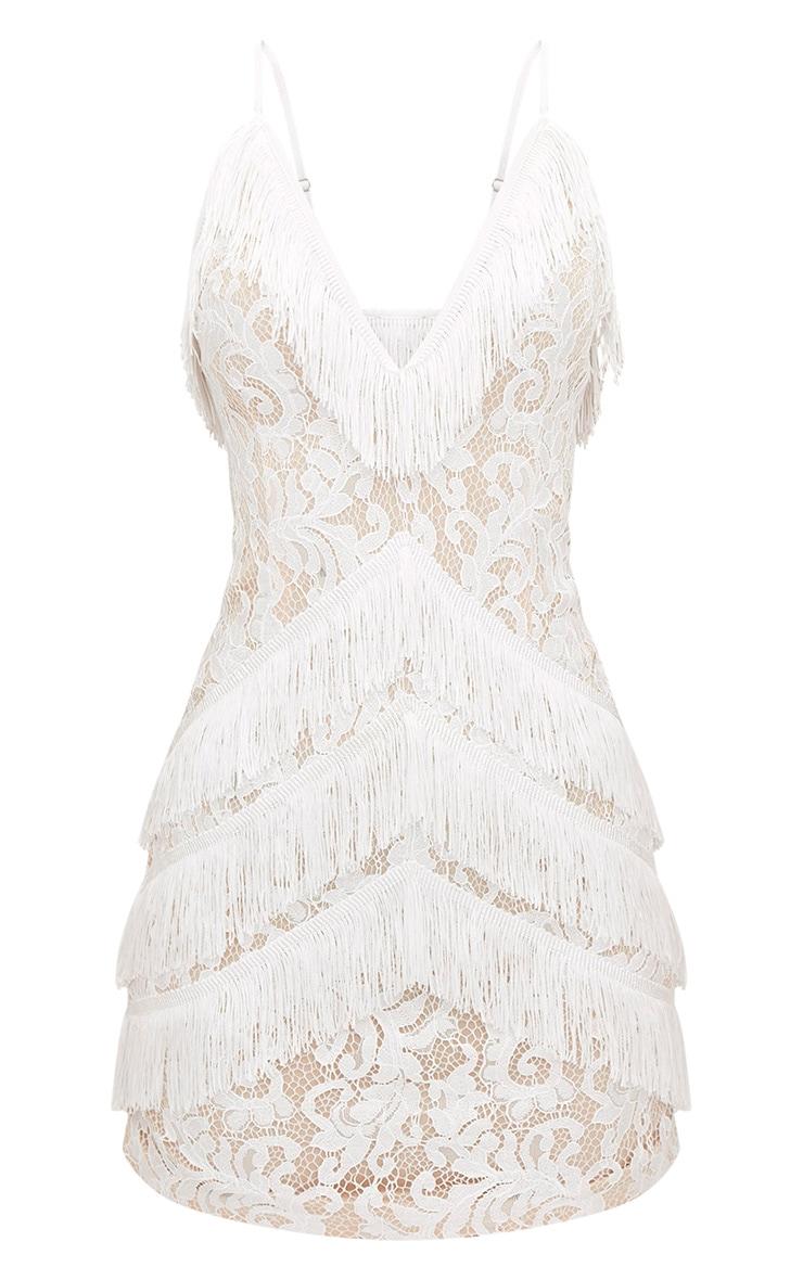 White Strappy Lace Tassel Detail Bodycon Dress 3