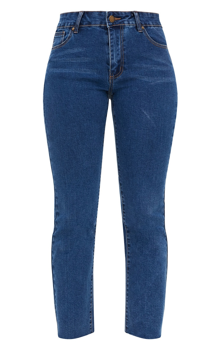 Dark Blue Raw Hem Slim Leg Jean 3