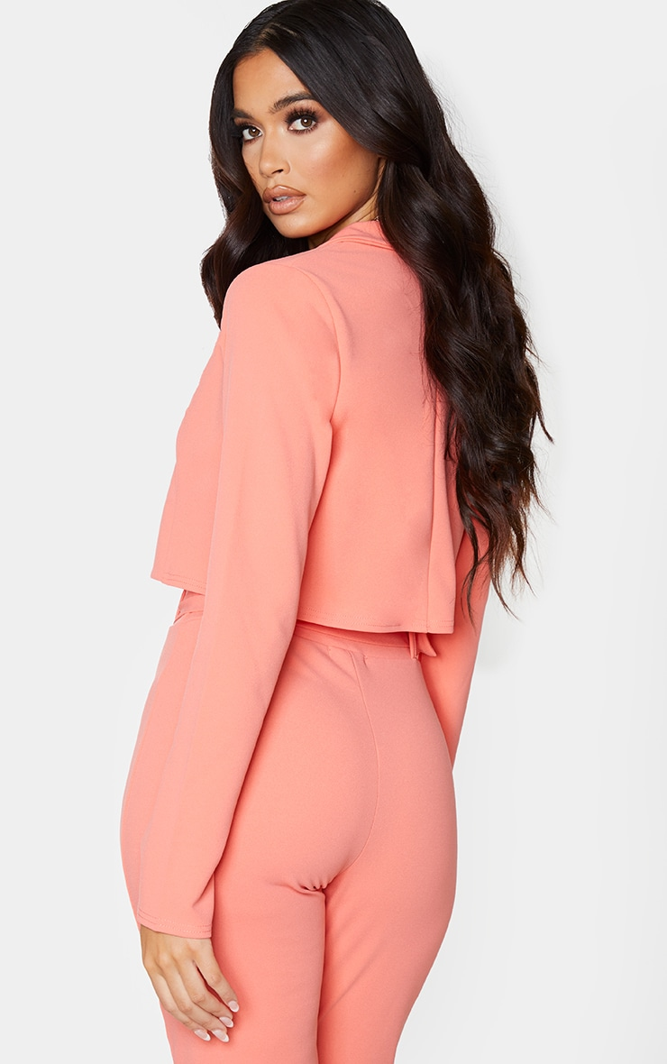 Coral Cropped Suit Blazer 2