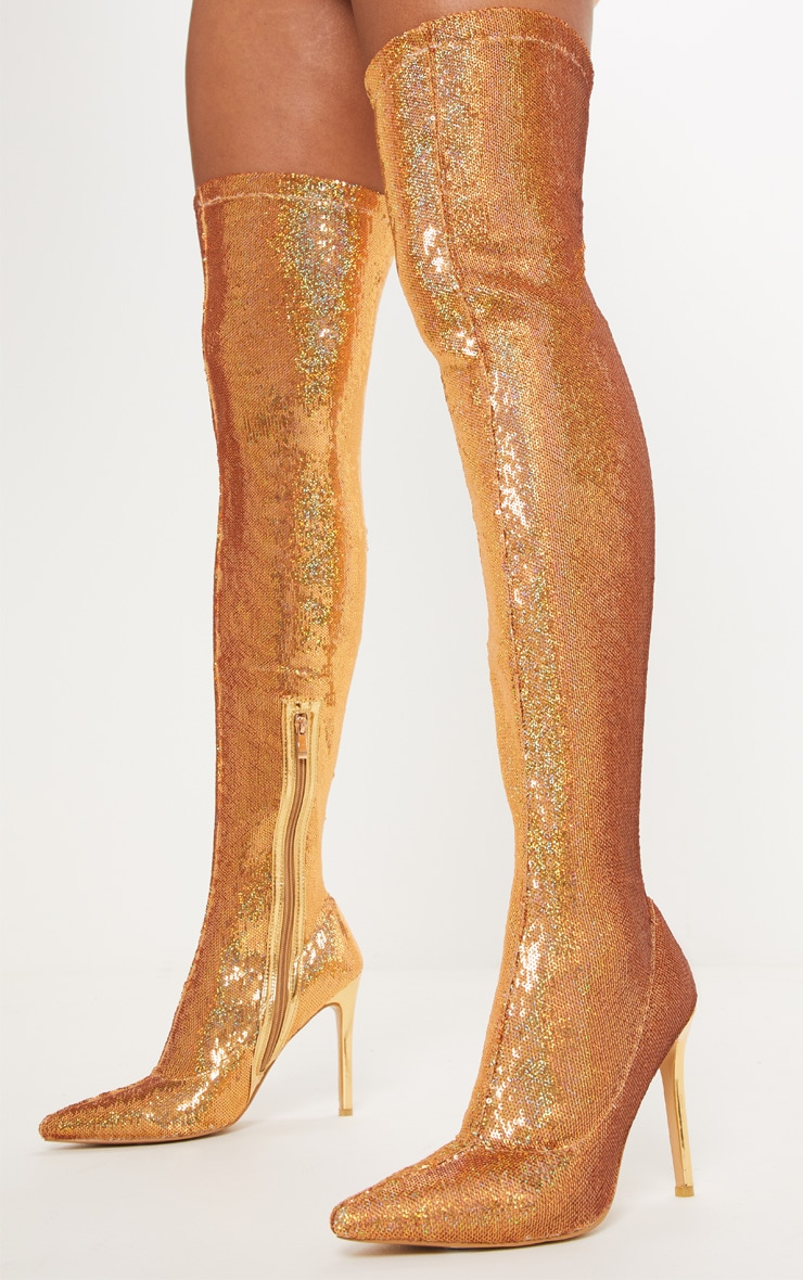 Gold Over The Knee Sequin Sock Boot