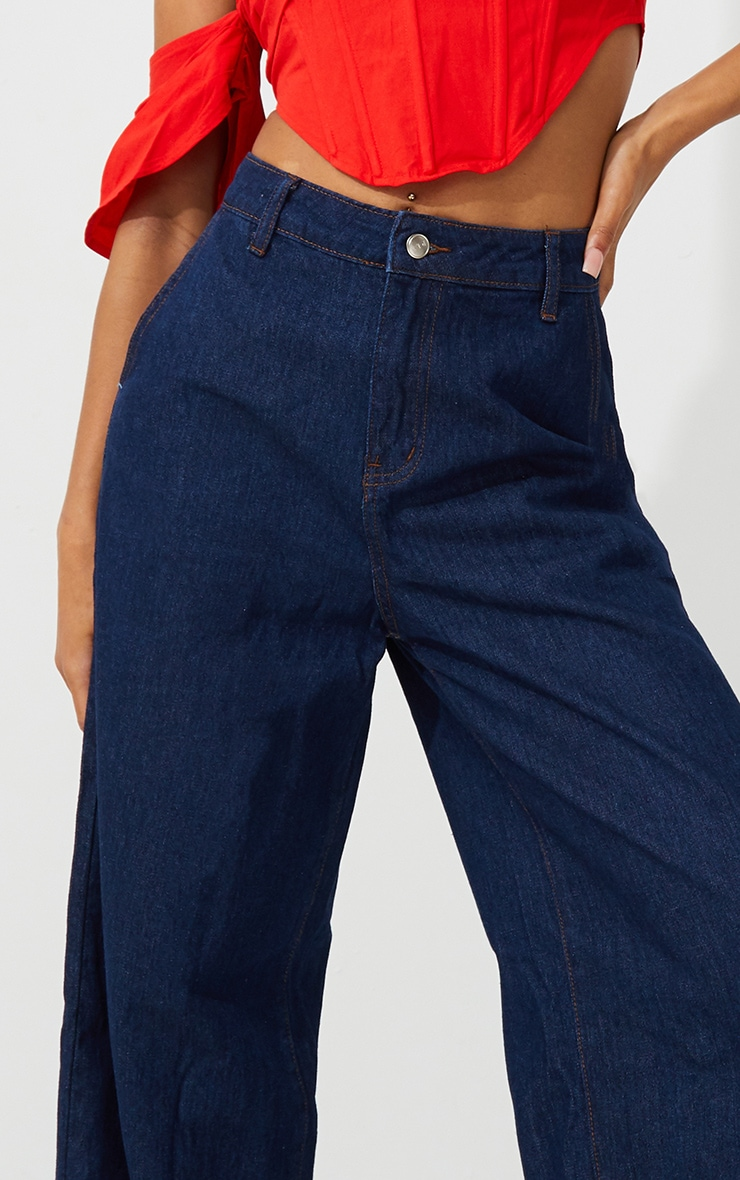 Indigo Wash Wide Leg Jeans 4