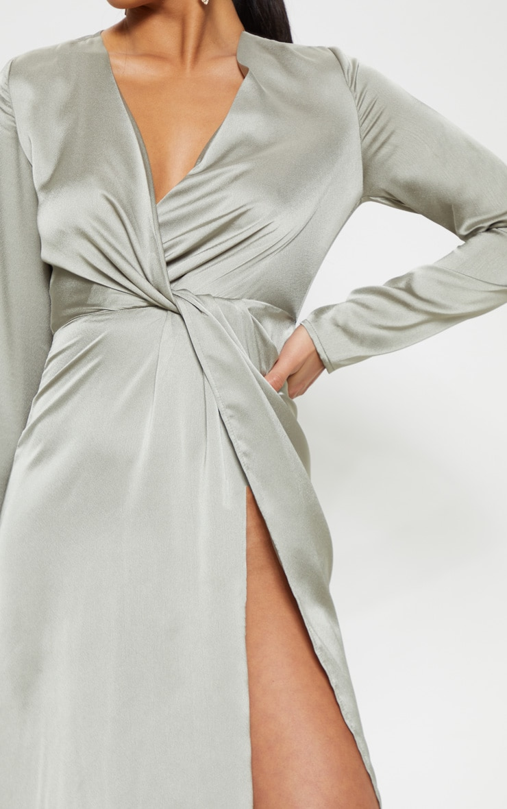 Petite Sage Green Twist Front Maxi Dress 4