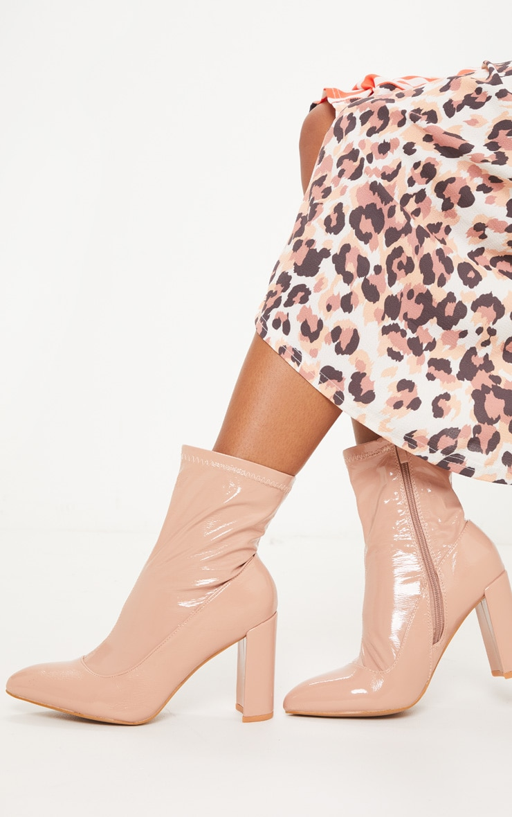 Nude Patent Block Heel Sock Boot