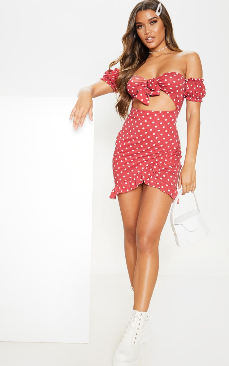 Terracotta Polka Dot Tie Front Wrap Bardot Bodycon Dress 4
