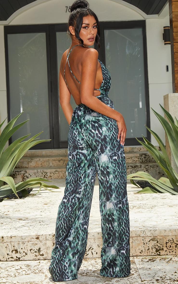 Khaki Leopard Print Halterneck Wide Leg Jumpsuit 2