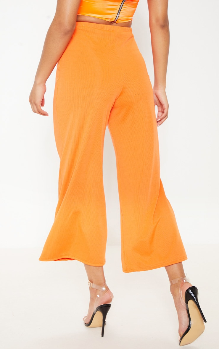 Hot Orange Button Detail Rib Culotte 4