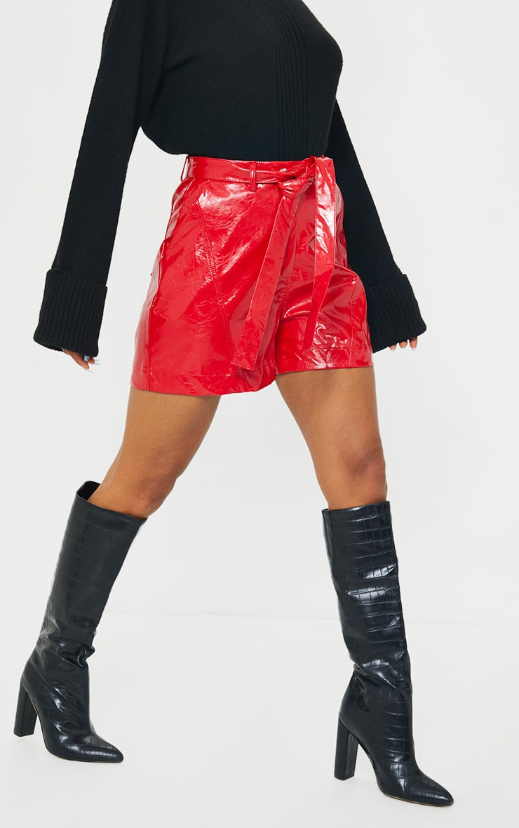 Red Vinyl Belted Shorts 2