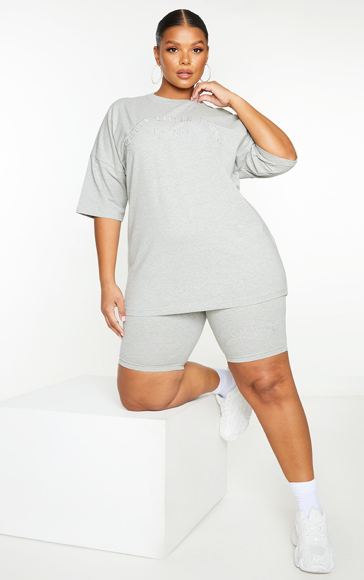 Plus Grey Embroidered Oversized Tshirt 3