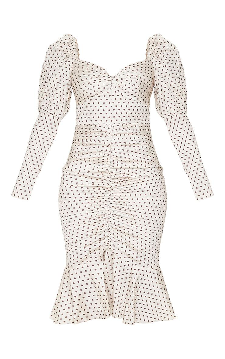 Nude Polka Dot Puff Sleeve Ruched Detail Frill Hem Midi Dress 5