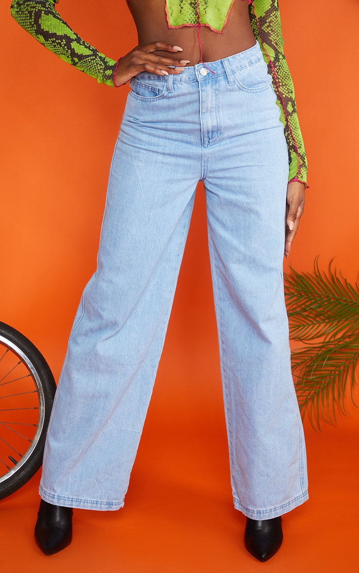 Acid Blue Wash Wide Leg Jeans 3