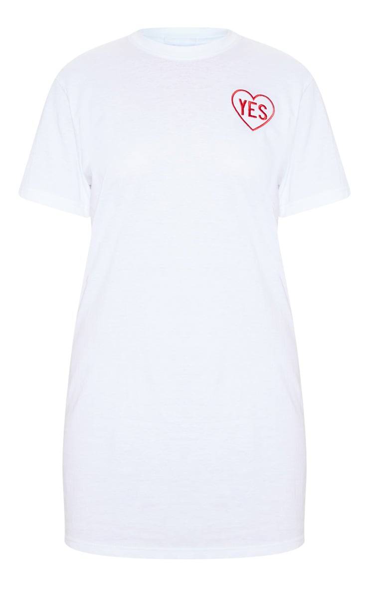 White Yes Slogan Embroidered Oversized T Shirt Dress 3