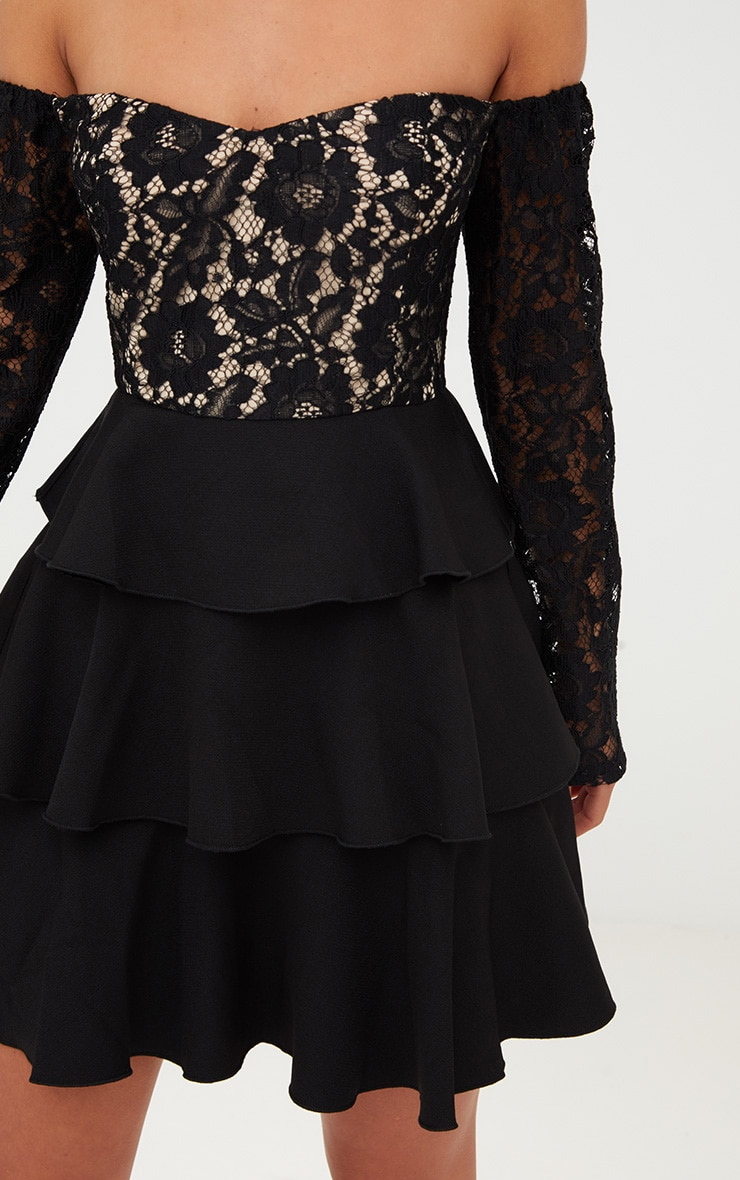 Black Lace Top Frill Detail Skater Dress  5