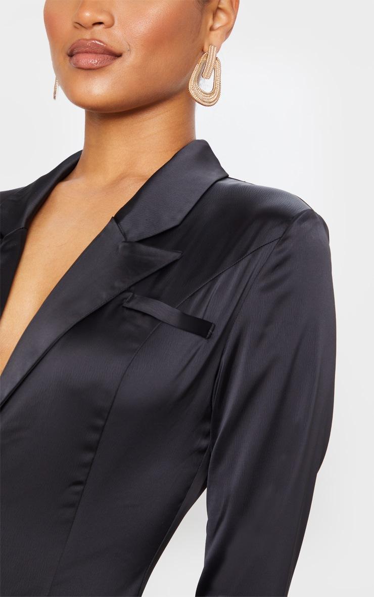 Black Long Sleeve Tailored Satin Jumpsuit 5