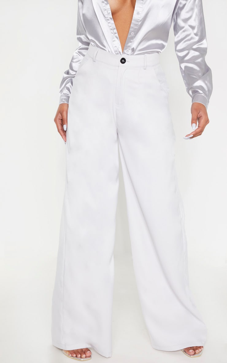 Grey Wide Leg Woven Pleat Pants 2