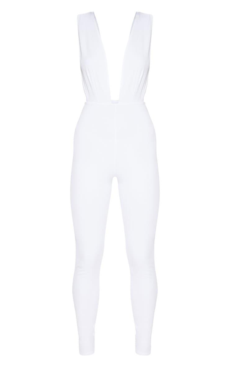 White Bandage Plunge Jumpsuit  3