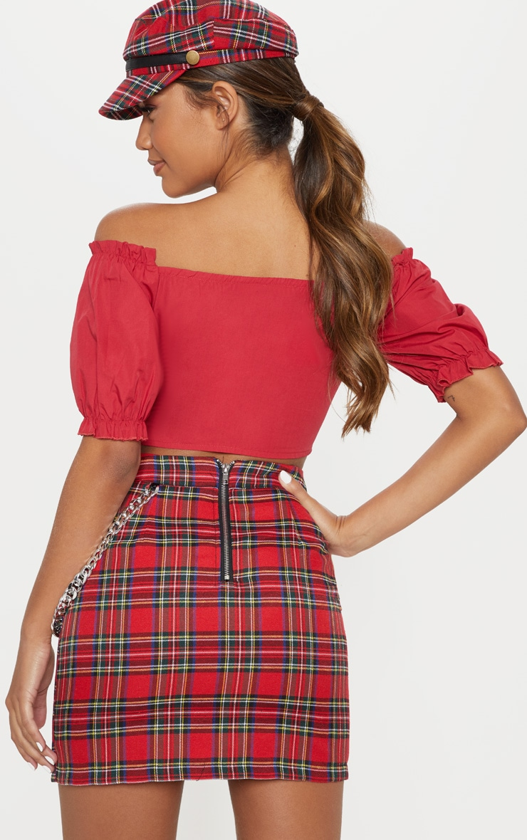 Red Bardot Puff Sleeve Ruched Crop Top 2
